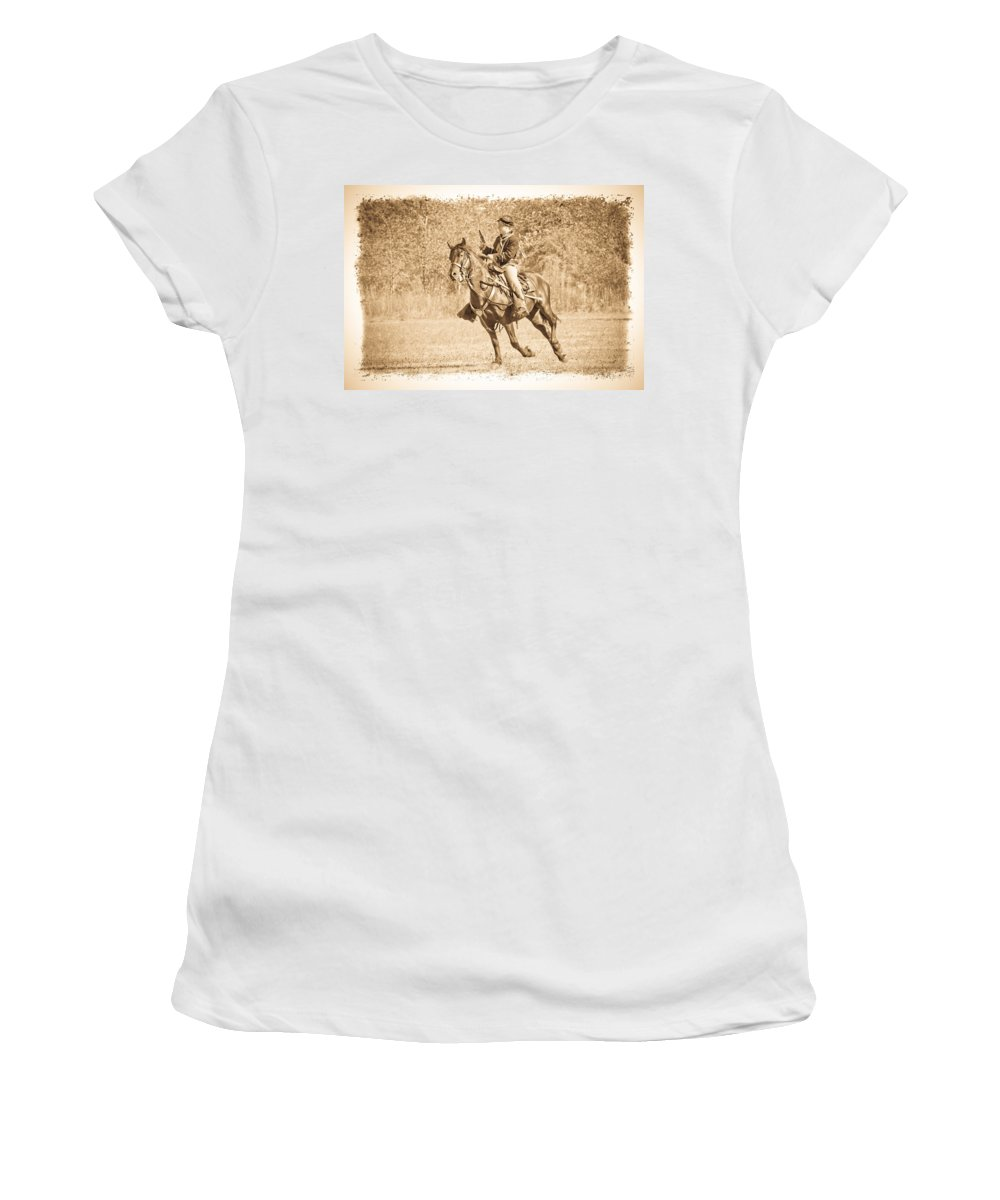 Civil War Women's T-Shirt (Athletic Fit) featuring the photograph Horseback Soldier by Steve McKinzie