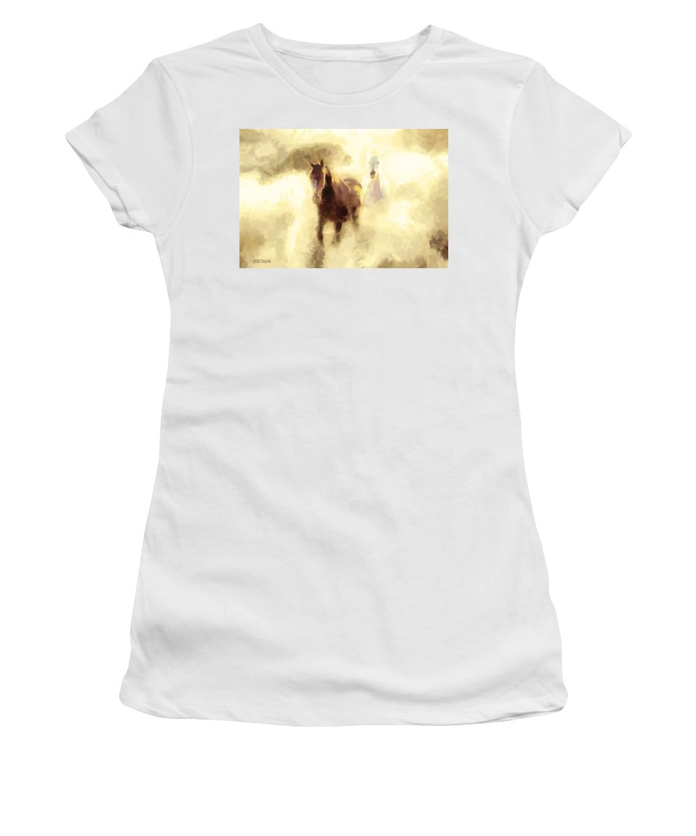 Horse Women's T-Shirt featuring the painting Horses Of The Mist by Greg Collins