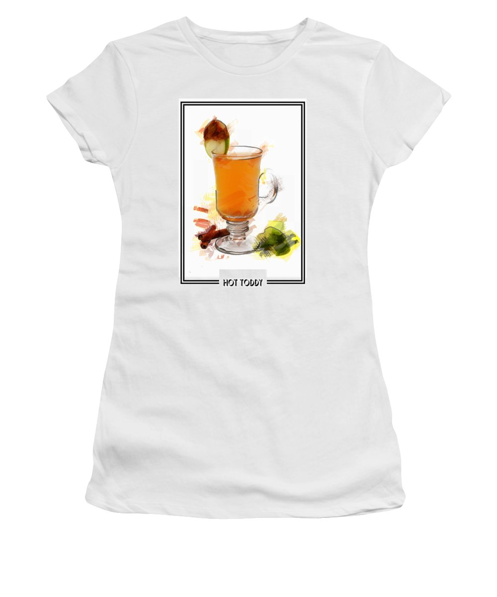 Drink Women's T-Shirt featuring the painting Hot Toddy Cocktail Marker Sketch by Elaine Plesser