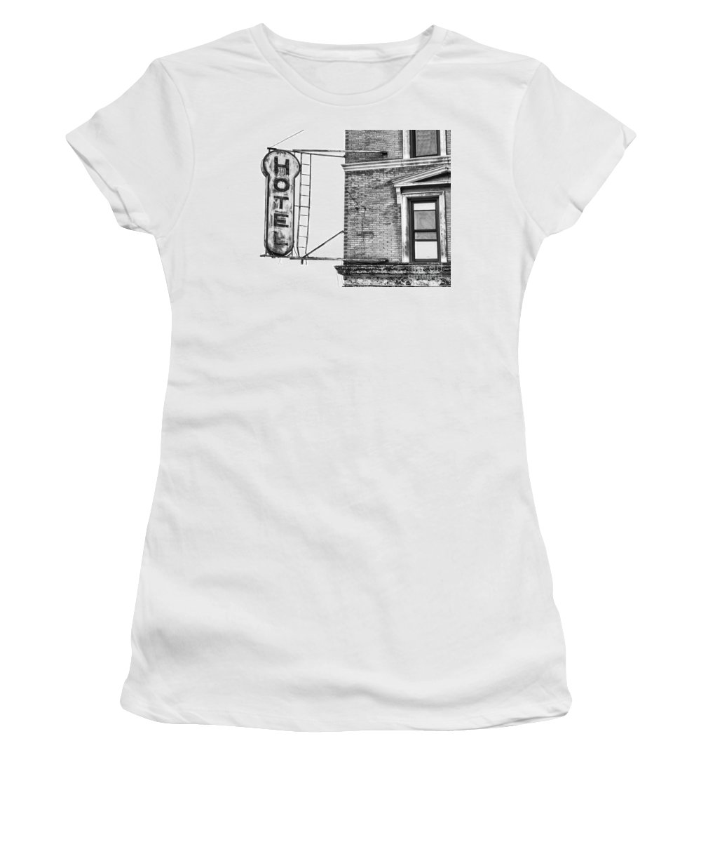 B+w Women's T-Shirt (Athletic Fit) featuring the photograph Hotel by Jerry Fornarotto