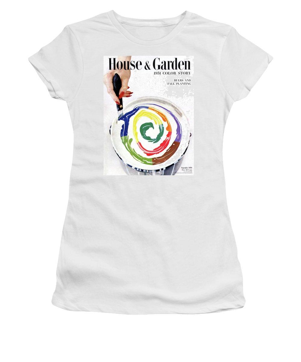House & Garden Women's T-Shirt featuring the photograph House & Garden Cover Of A Woman's Hand Stirring by Herbert Matter