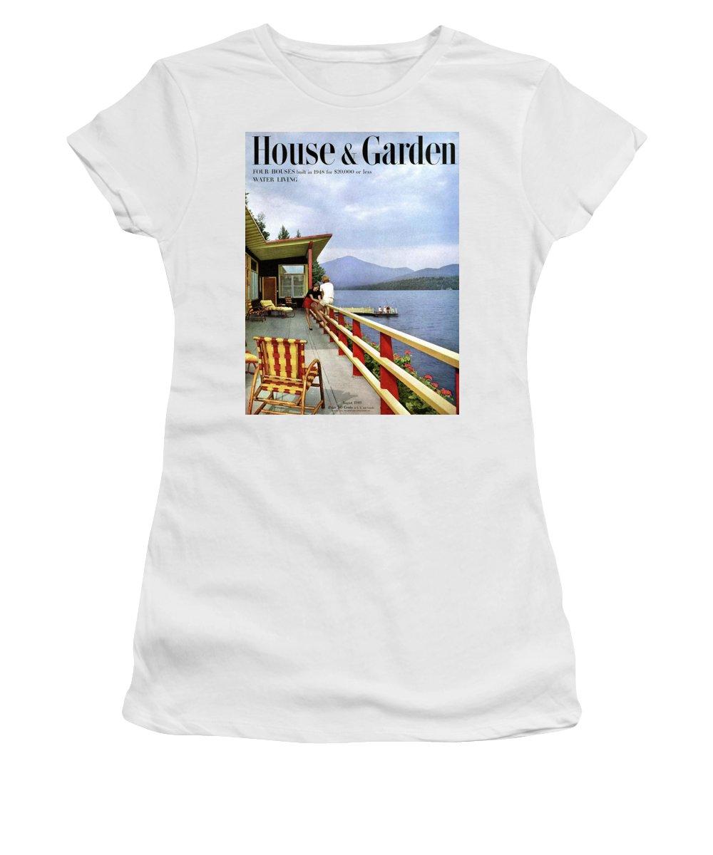 House & Garden Women's T-Shirt featuring the photograph House & Garden Cover Of Women Sitting On The Deck by Robert M. Damora