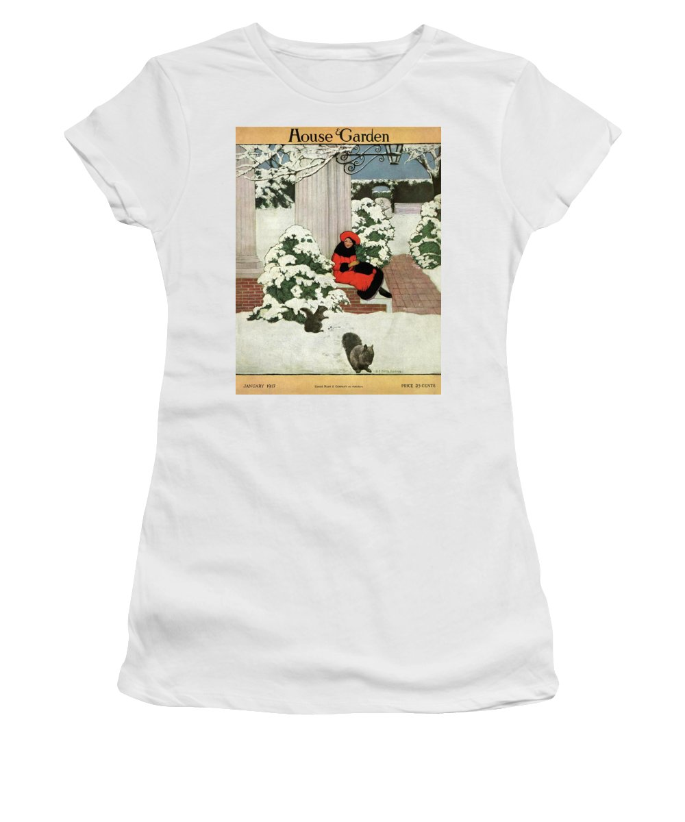 House And Garden Women's T-Shirt featuring the photograph House And Garden Cover by Ethel Franklin Betts Baines