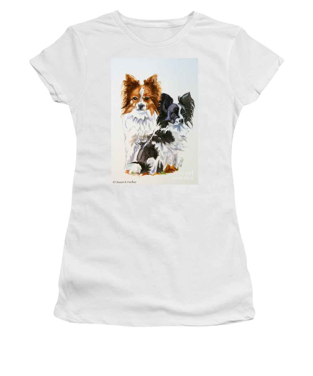Animal Women's T-Shirt featuring the painting Housemates by Susan Herber