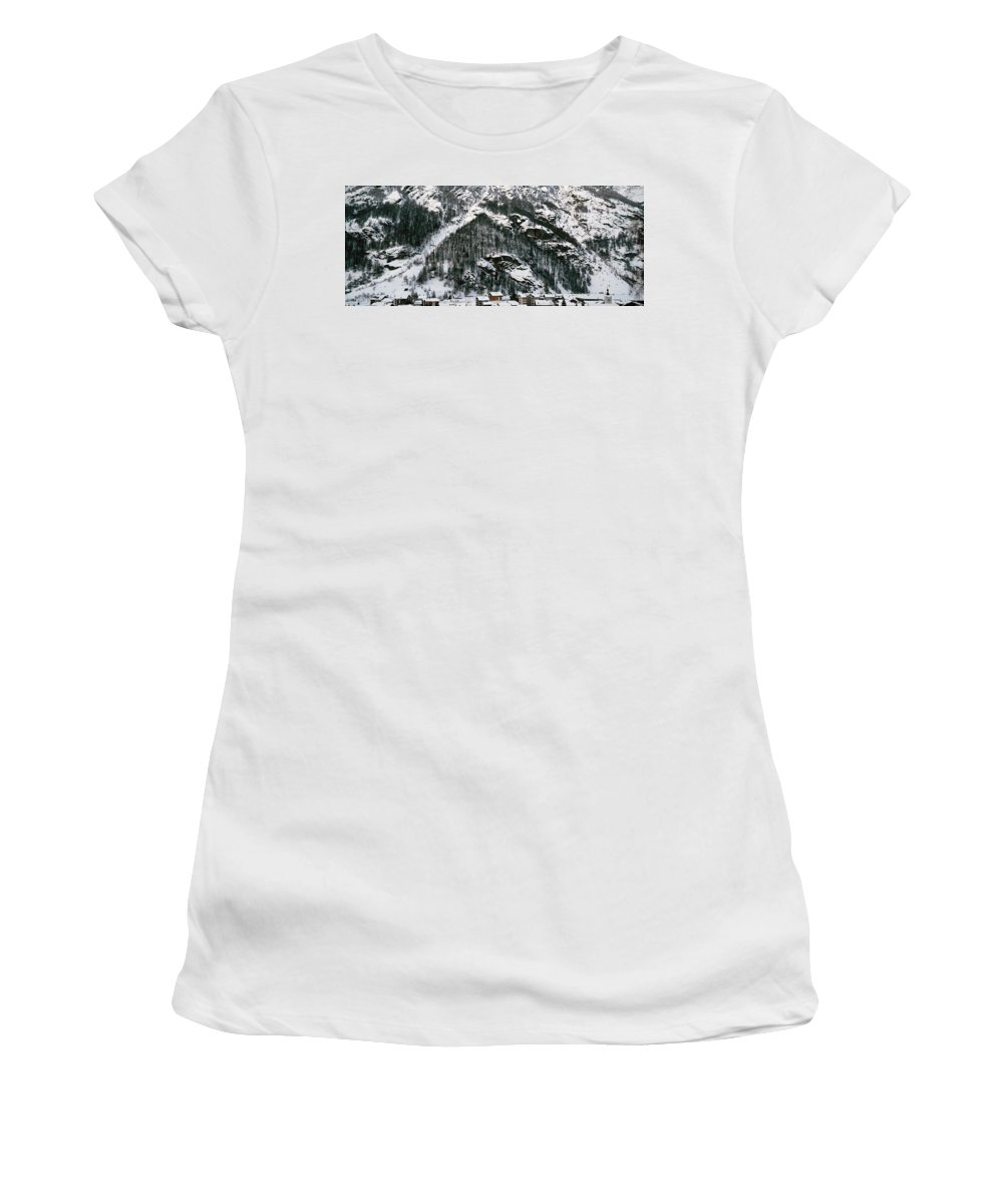 Photography Women's T-Shirt featuring the photograph Houses In A Village In Winter, Tasch by Panoramic Images