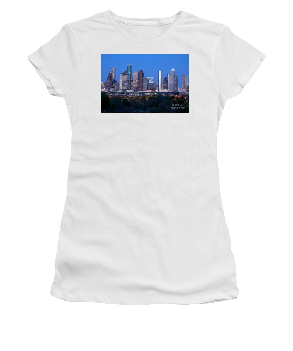 Houston Women's T-Shirt (Athletic Fit) featuring the photograph Houston Night Skyline by Bill Cobb