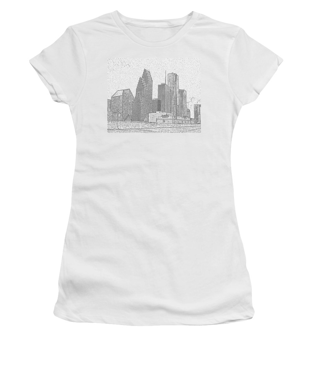Skyscape Women's T-Shirt (Athletic Fit) featuring the photograph Houston Skyline Abstract by Jeanne A Martin