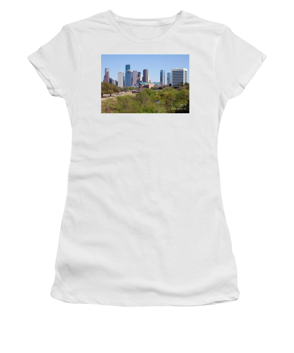 Houston Women's T-Shirt (Athletic Fit) featuring the photograph Houston Skyline And Buffalo Bayou by Bill Cobb