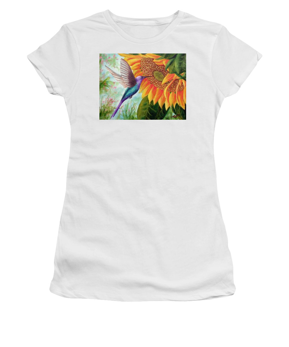 Hummingbird Women's T-Shirt (Athletic Fit) featuring the painting Humming For Nectar by David G Paul