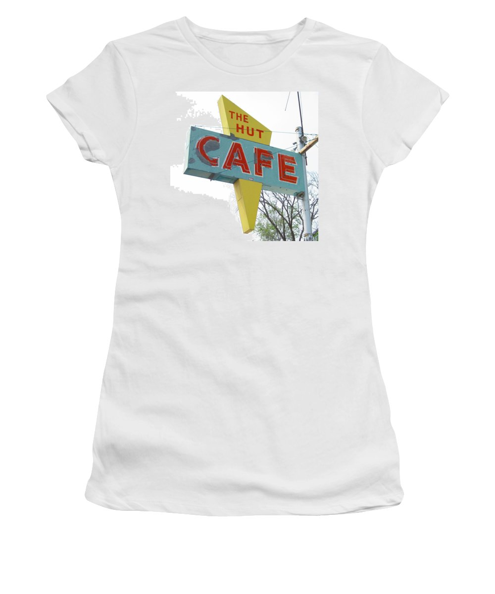 Mid Century Women's T-Shirt featuring the photograph Hut Cafe by Larry Hunter
