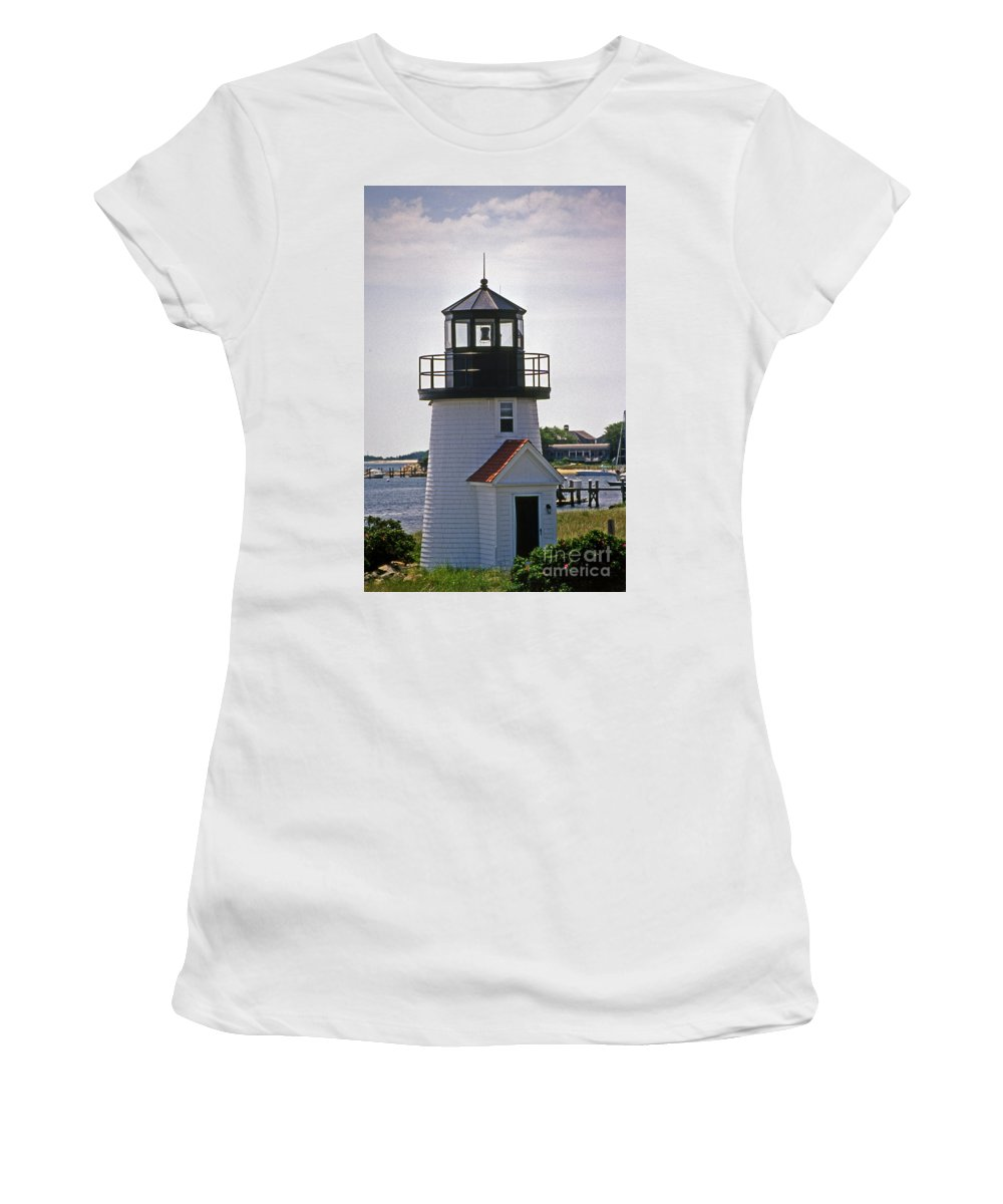 Lighthouses Women's T-Shirt (Athletic Fit) featuring the photograph Hyannis Harbor Replica by Skip Willits