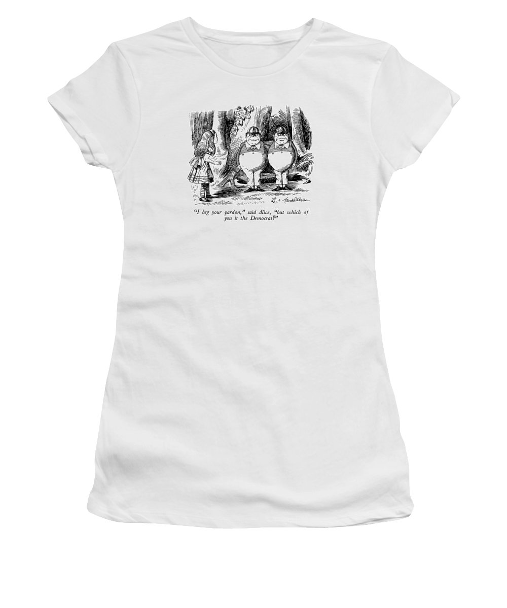 Said Alice Women's T-Shirt (Athletic Fit) featuring the drawing I Beg Your Pardon by J.B. Handelsman