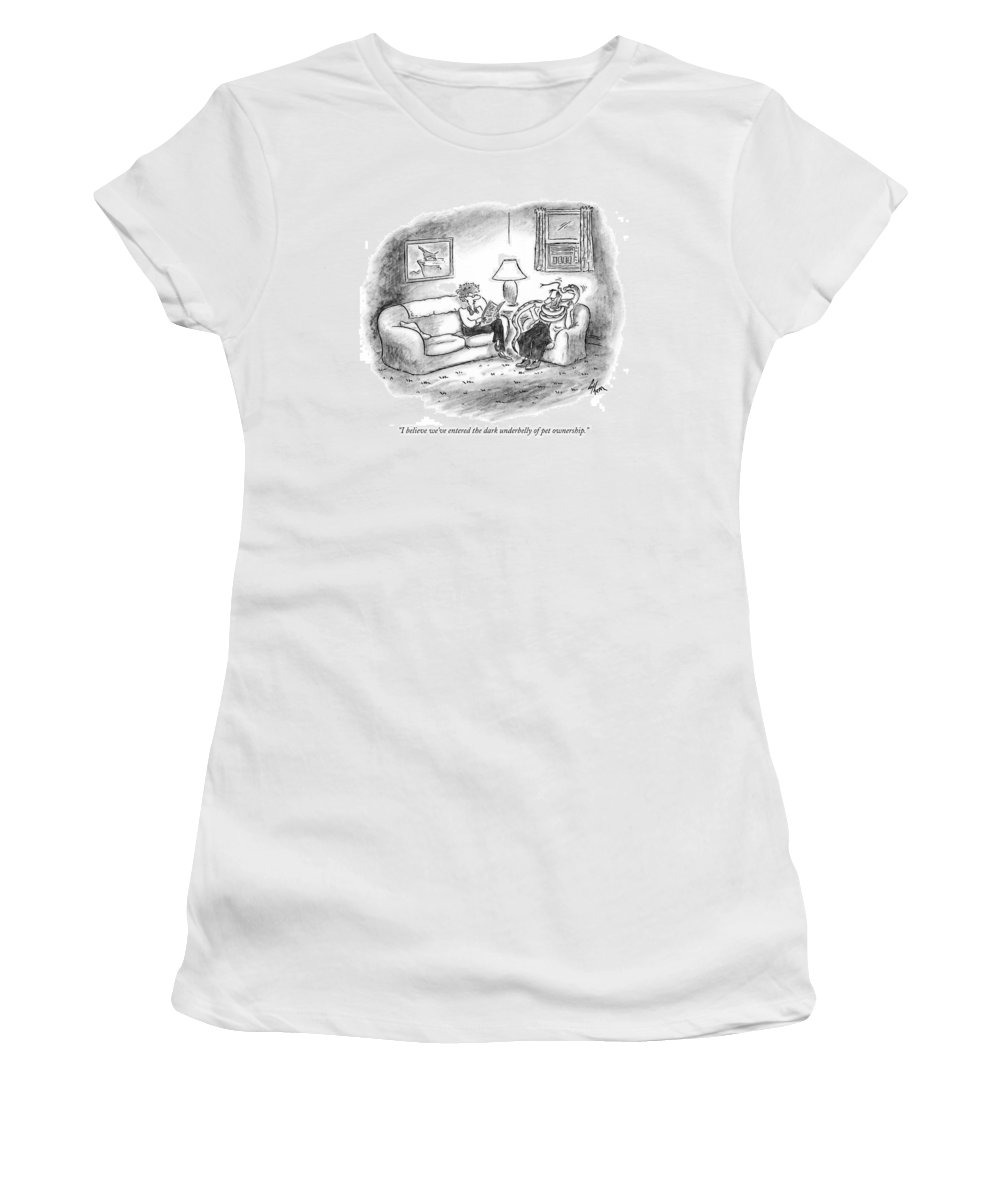 Middle Age Women's T-Shirt (Athletic Fit) featuring the drawing I Believe We've Entered The Dark Underbelly by Frank Cotham