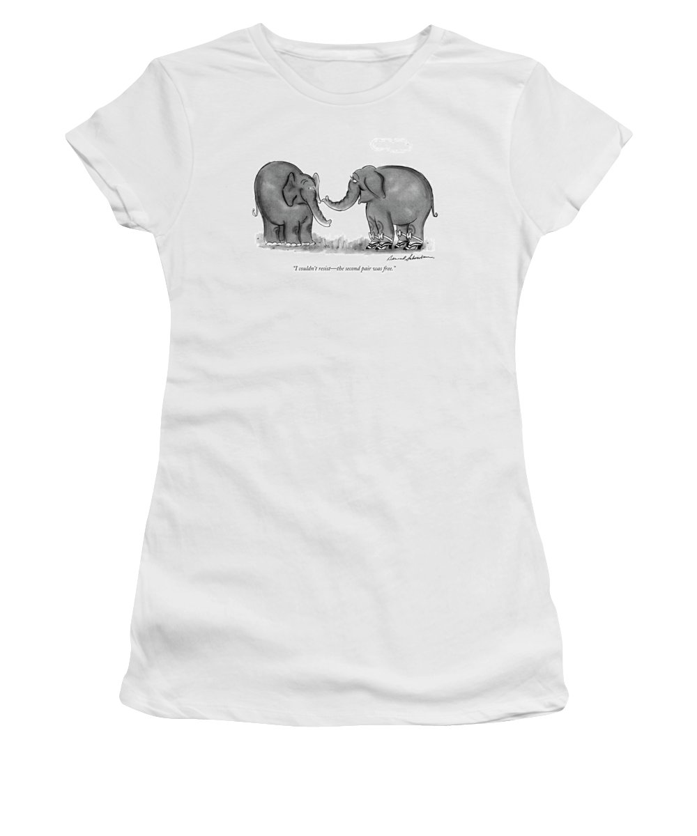 One Elephant Women's T-Shirt featuring the drawing I Couldn't Resist - The Second Pair Was Free by Bernard Schoenbaum