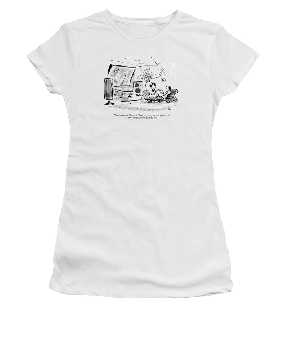 Insecurity Women's T-Shirt featuring the drawing I Just Realized by Lee Lorenz