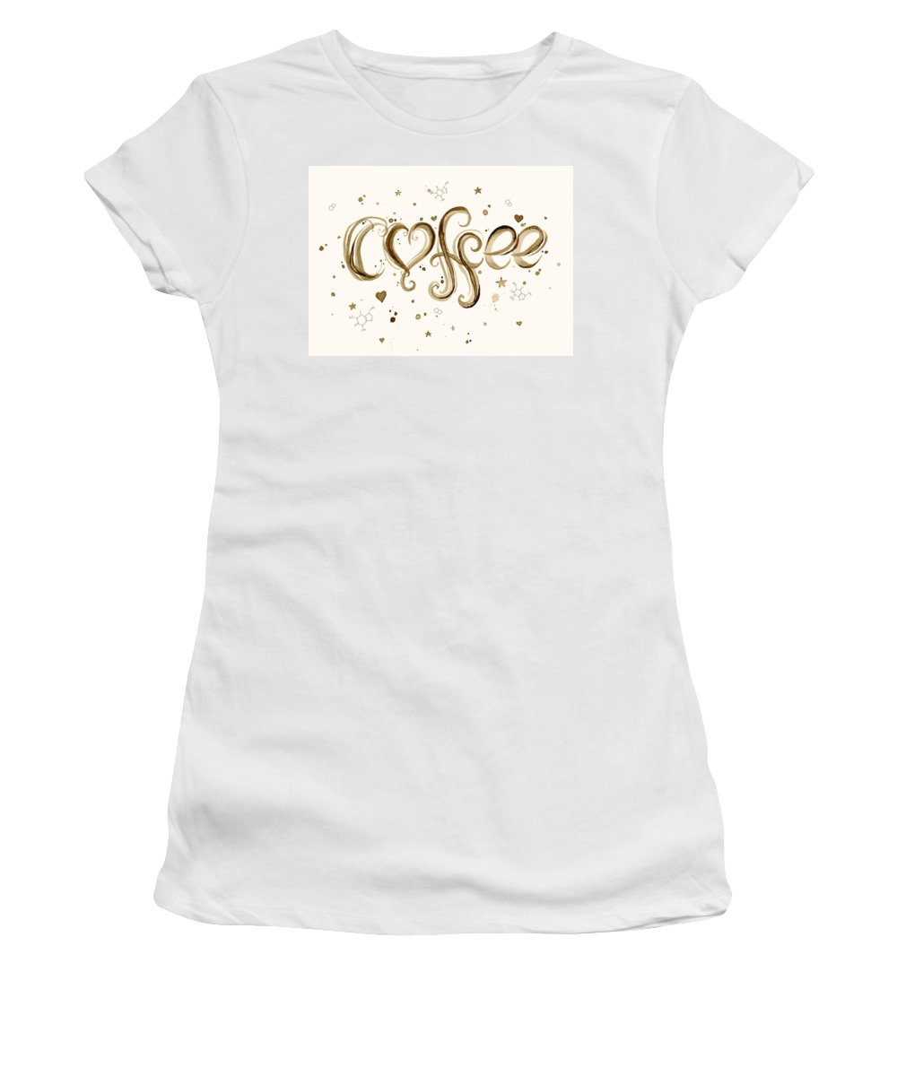 Watercolor Women's T-Shirt featuring the painting I Love Coffee by Olga Shvartsur