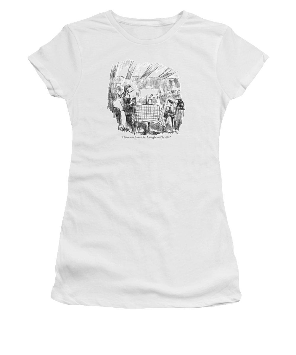 Technology Women's T-Shirt featuring the drawing I Loved Your E-mail by Robert Weber