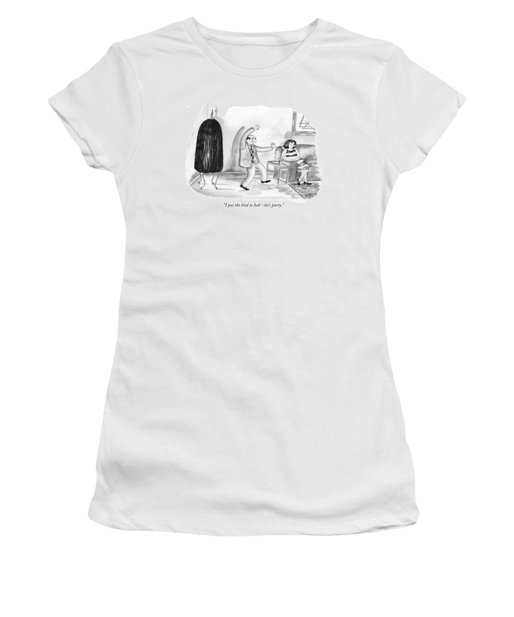 Birds - General Women's T-Shirt (Athletic Fit) featuring the drawing I Put The Bird To Bed - Let's Party by Victoria Roberts