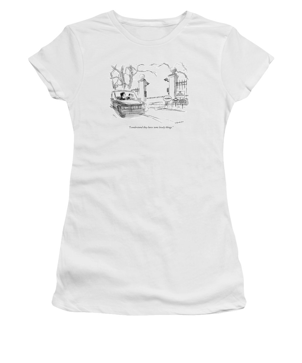 (couple In Car Driving By Estate With Signs Stating Security Protection Offered By Four Different Agencies Women's T-Shirt (Athletic Fit) featuring the drawing I Understand They Have Some Lovely Things by James Stevenson