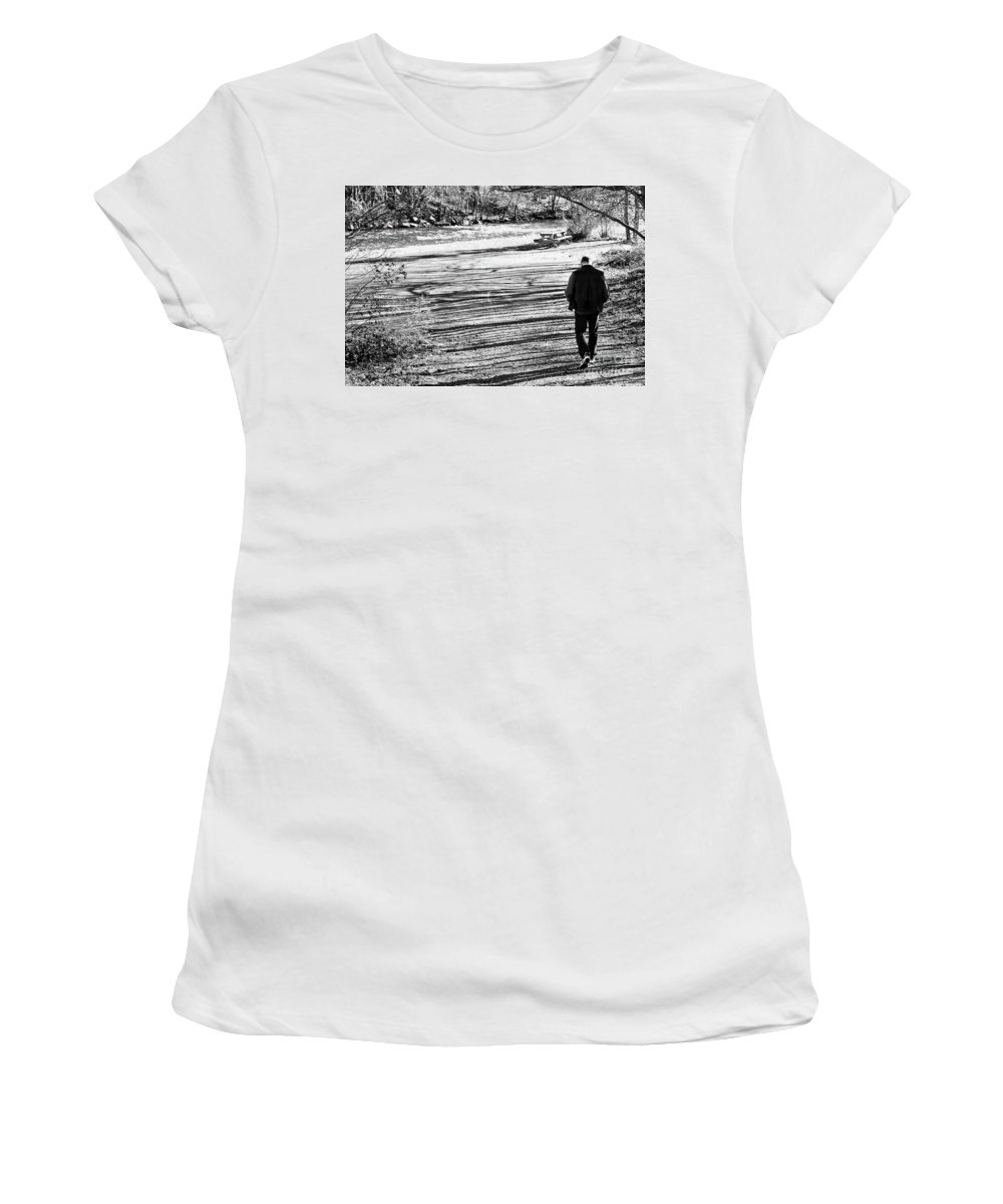 Person Women's T-Shirt featuring the photograph I Walk Alone by Lori Tambakis