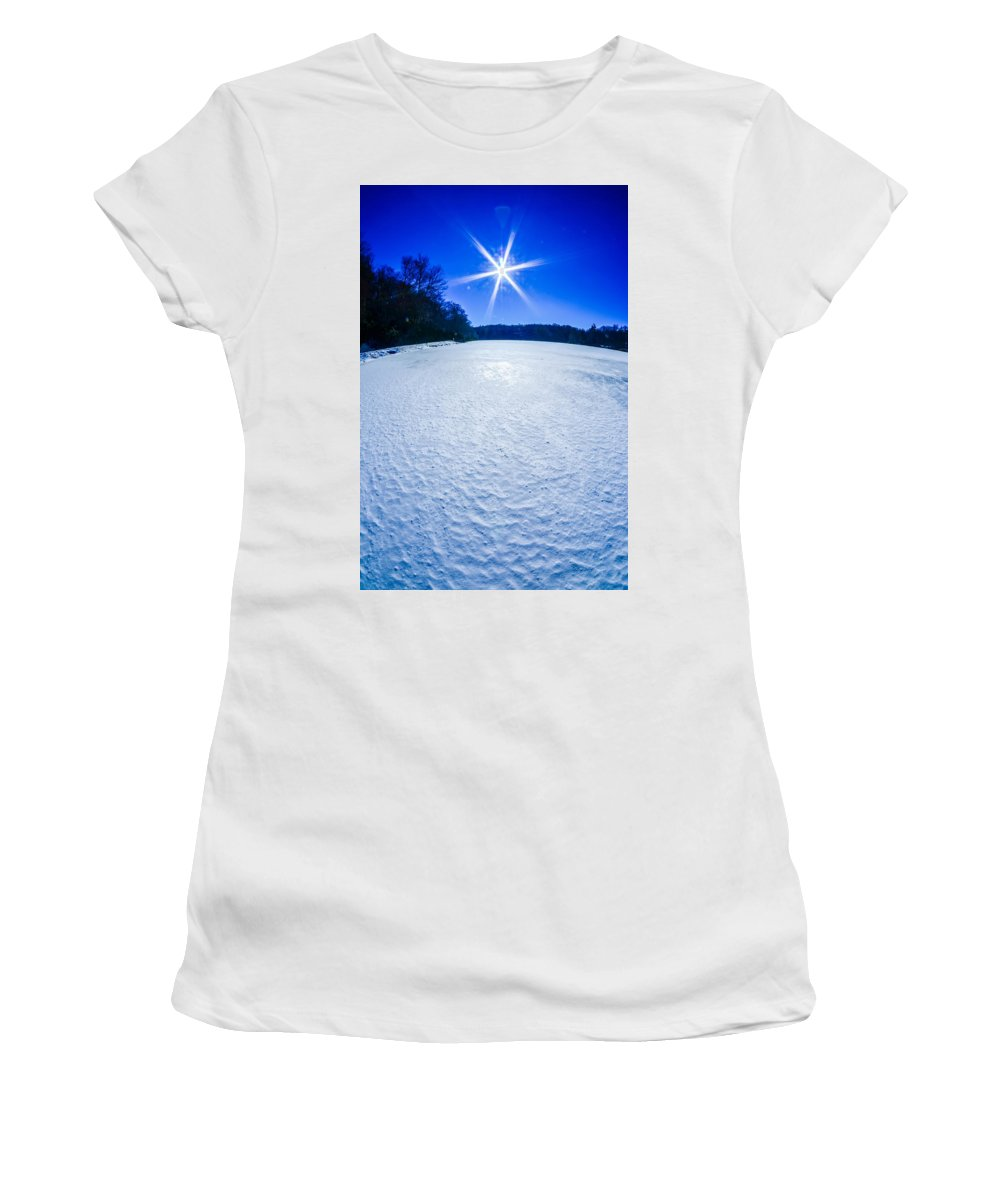 Ice Women's T-Shirt (Athletic Fit) featuring the photograph Ice And Snow Frozen Over Lake On Sunny Day by Alex Grichenko