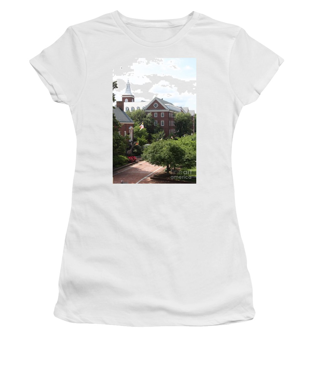 House Women's T-Shirt featuring the photograph Idyllic View From Maryland State House by Christiane Schulze Art And Photography