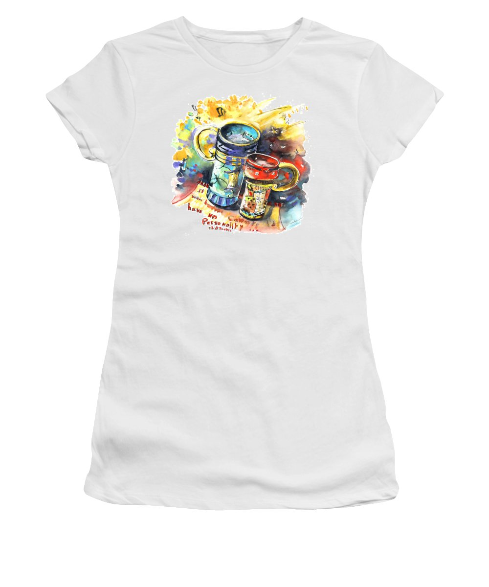 Cafe Crem Women's T-Shirt (Athletic Fit) featuring the painting If It Were Not For Caffeine by Miki De Goodaboom