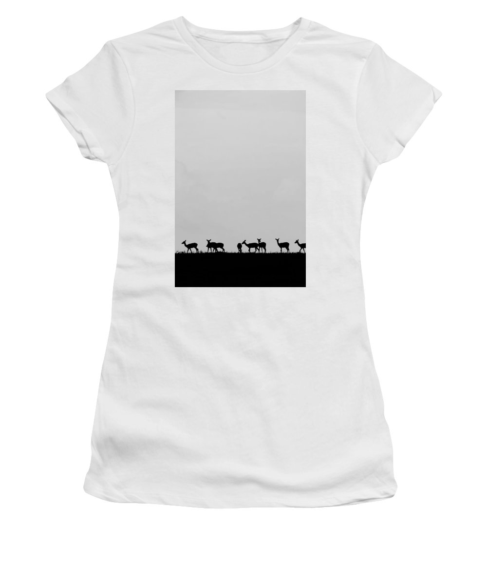 Walking Impala Women's T-Shirt featuring the photograph Impala Going Home In Black And White. by Amanda Stadther