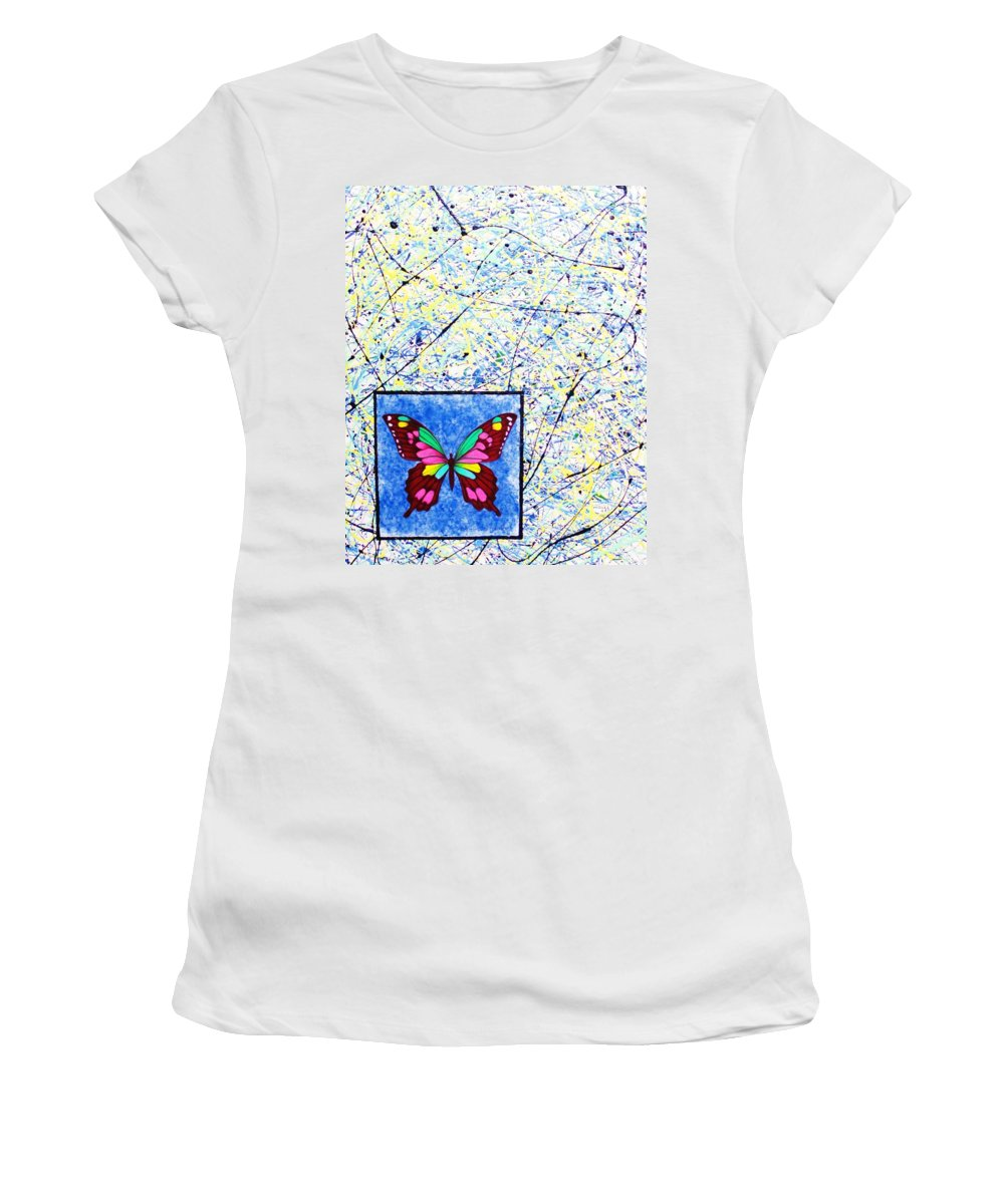 Abstract Women's T-Shirt (Athletic Fit) featuring the painting Imperfect I by Micah Guenther