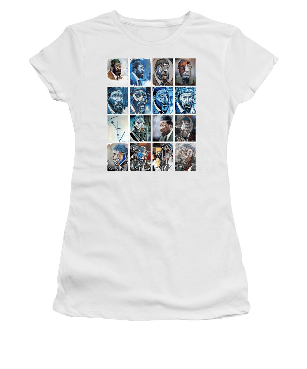 Jazz Piano Thelonious Monk Portrait Cubism Abstract Women's T-Shirt (Athletic Fit) featuring the painting Improvised Metamorphoses by Martel Chapman