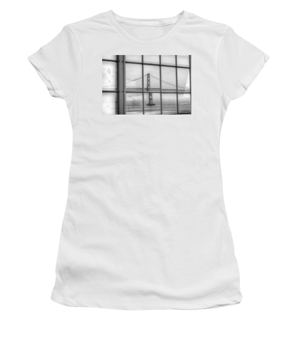 San Francisco Women's T-Shirt featuring the photograph in a window the Bay Bridge by SC Heffner