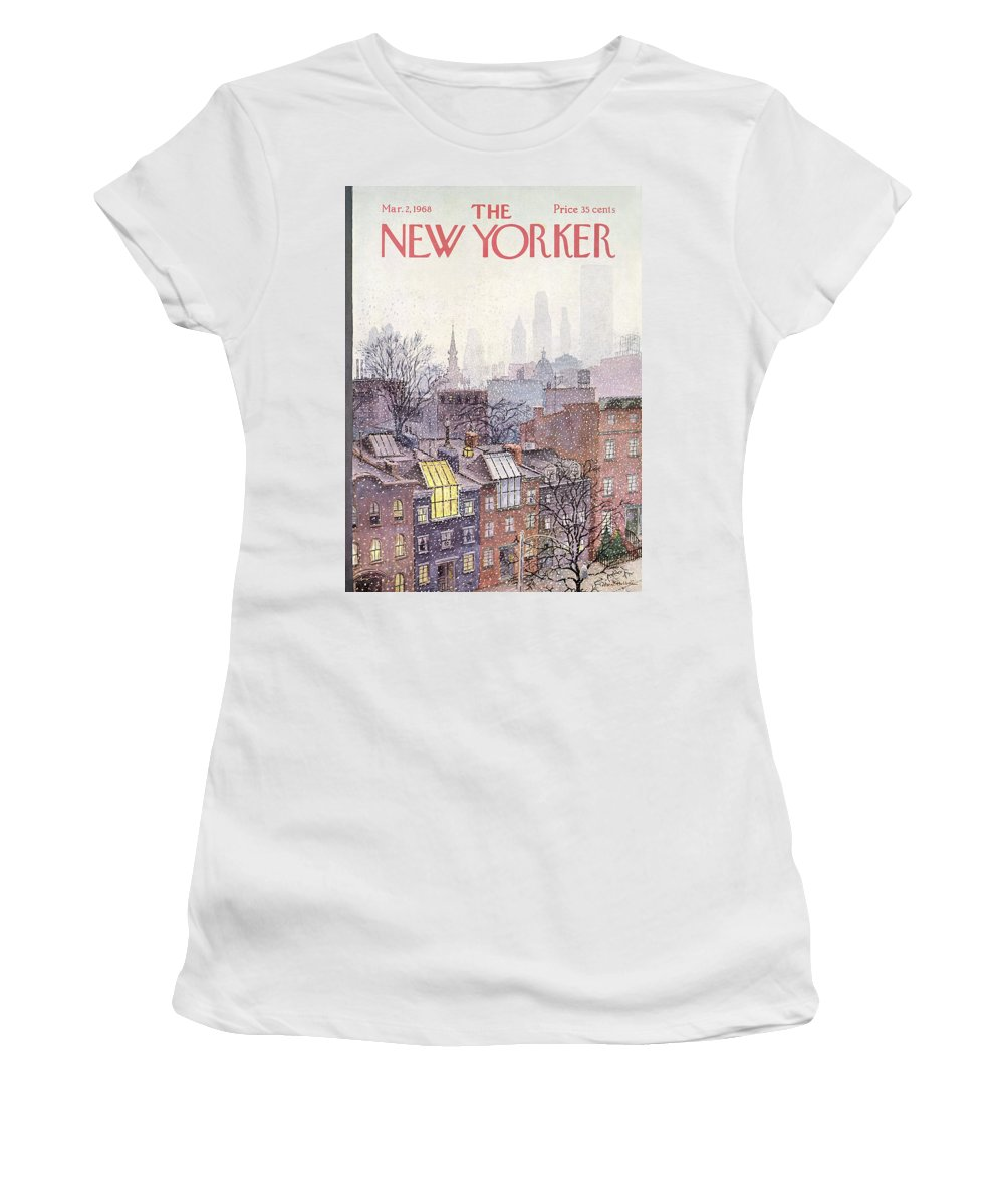 Albert Hubbell Ahu Women's T-Shirt featuring the painting New Yorker March 2, 1968 by Albert Hubbell