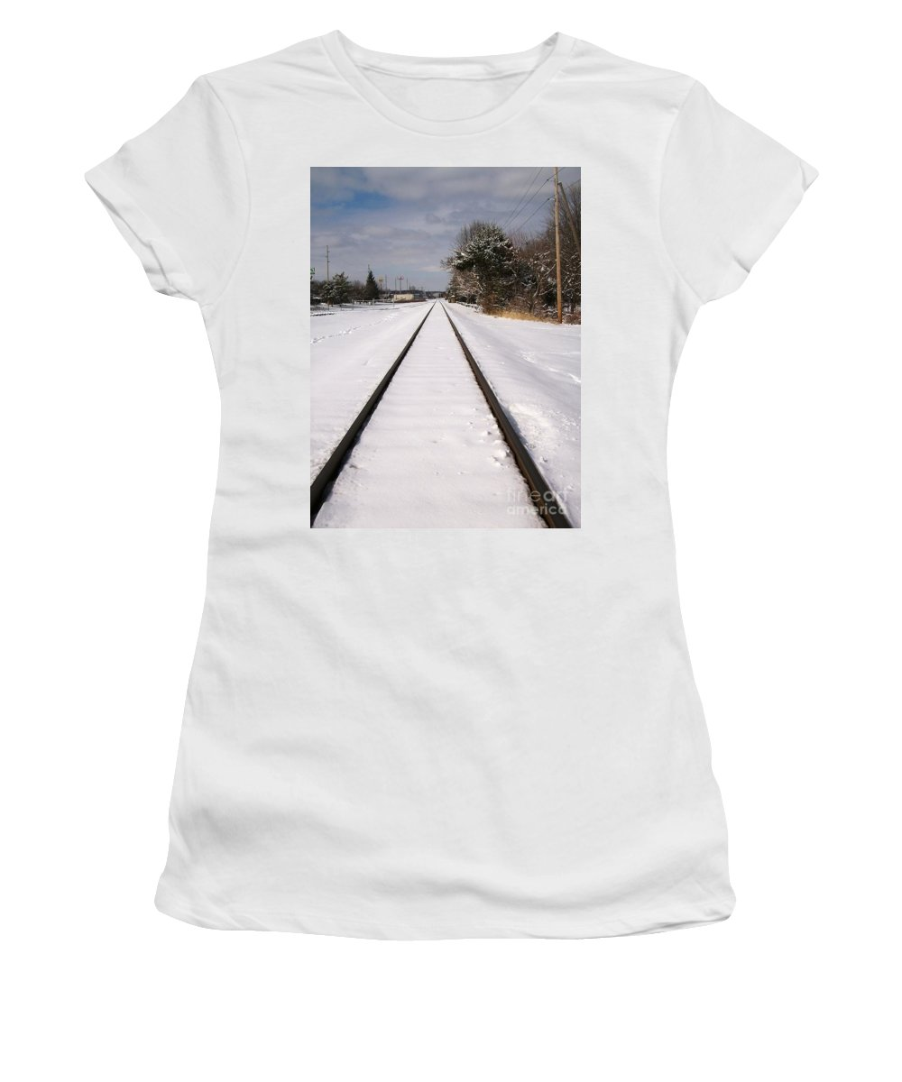 Railroad Women's T-Shirt featuring the photograph In The Distance by Sara Raber