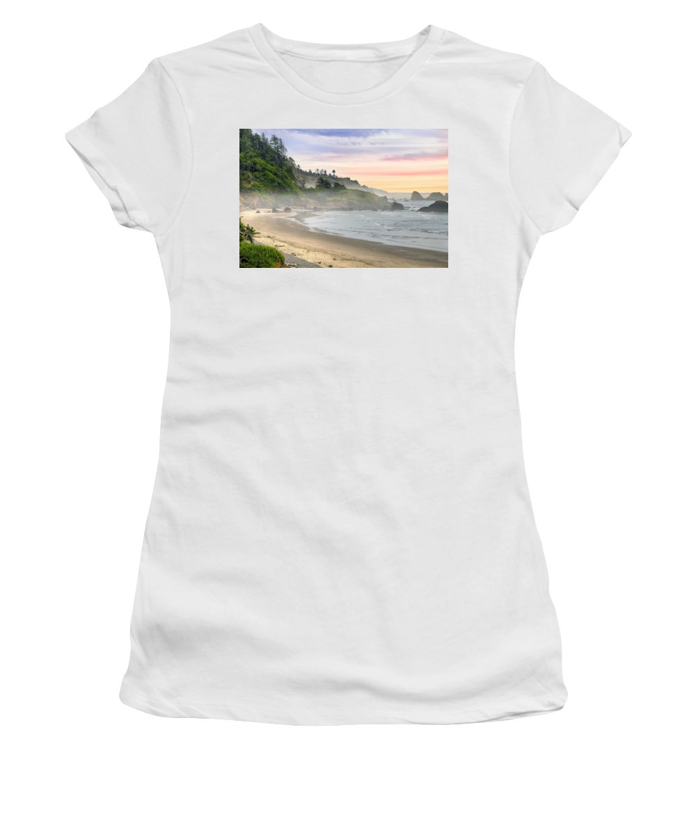 Indian Women's T-Shirt featuring the photograph Indian Beach One Foggy Morning by David Gn