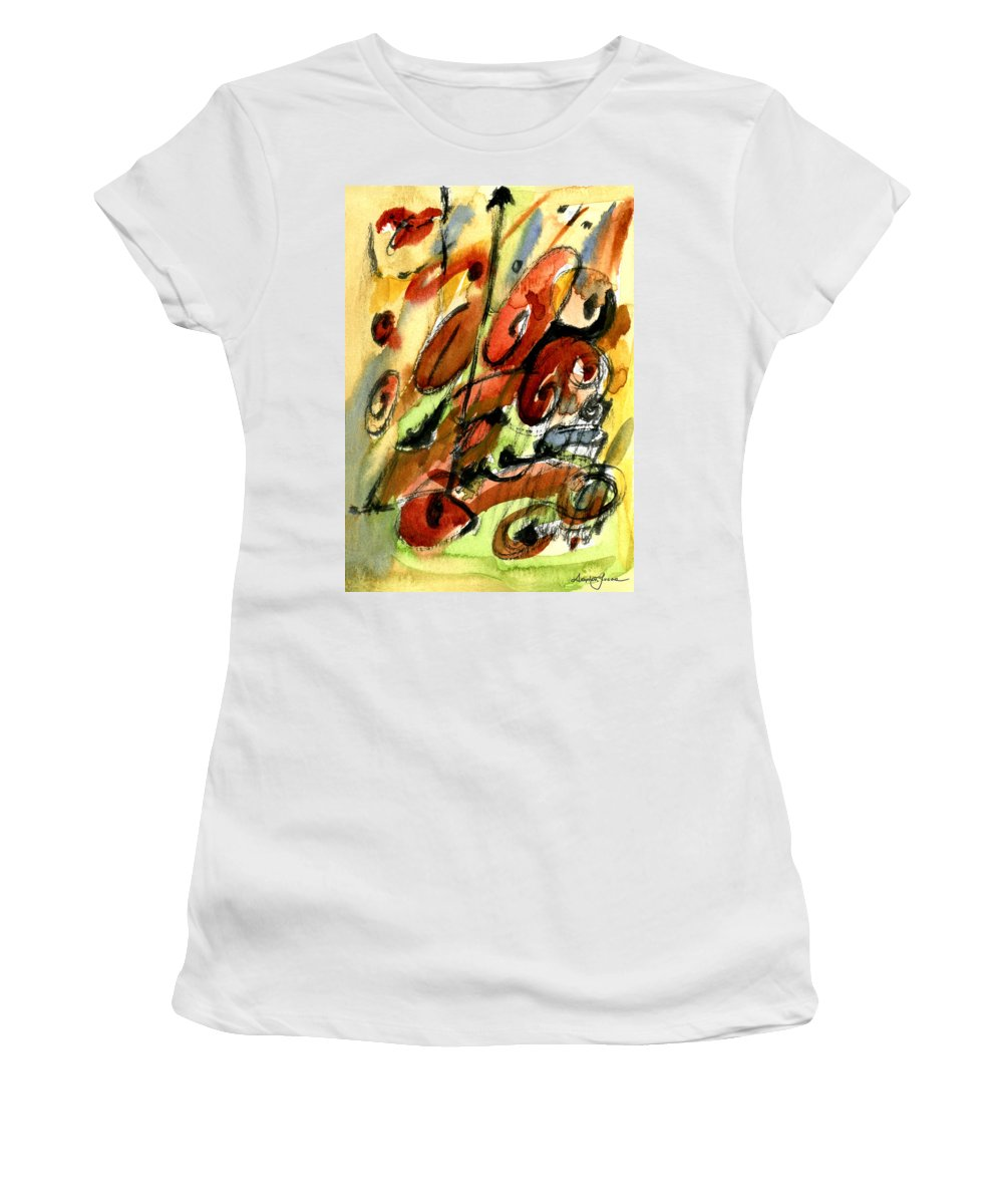 Abstract Art Women's T-Shirt (Athletic Fit) featuring the painting Indian Summer by Stephen Lucas