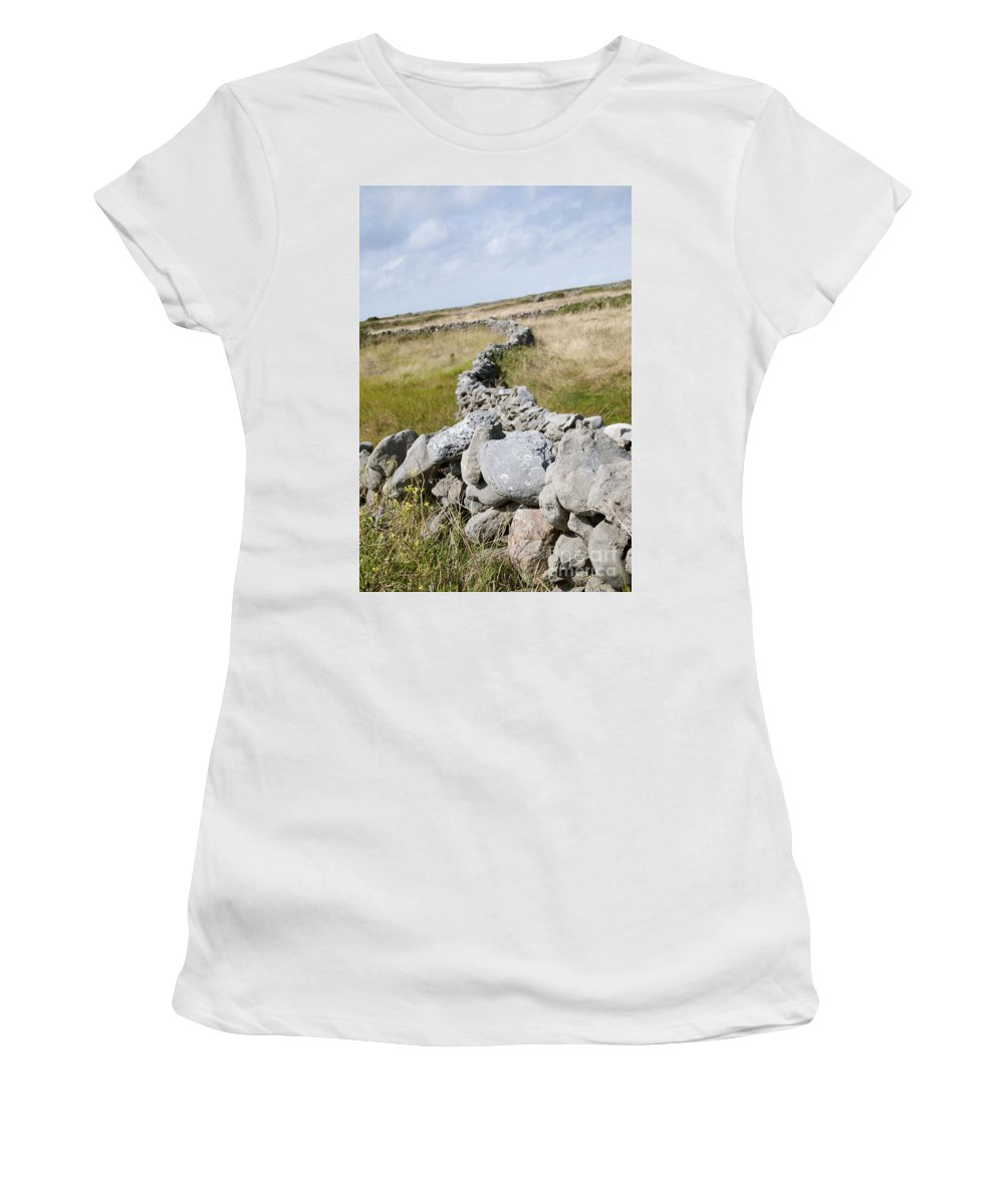 Ireland Digital Photography Women's T-Shirt (Athletic Fit) featuring the digital art Inis Mor Fields Of Stone by Danielle Summa