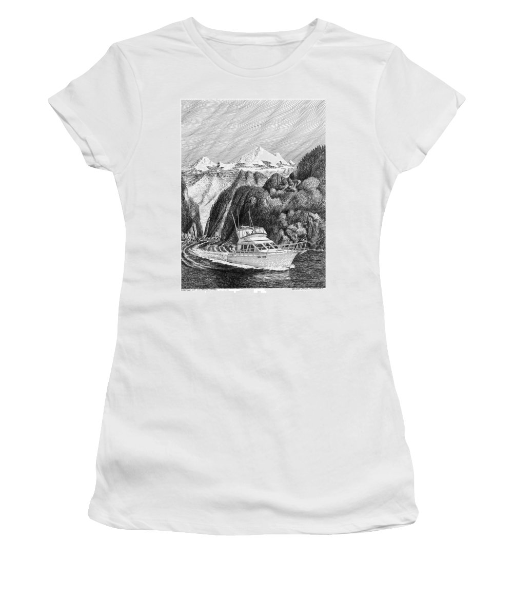 Yachting Women's T-Shirt (Athletic Fit) featuring the drawing Cruising The Inside Passage by Jack Pumphrey