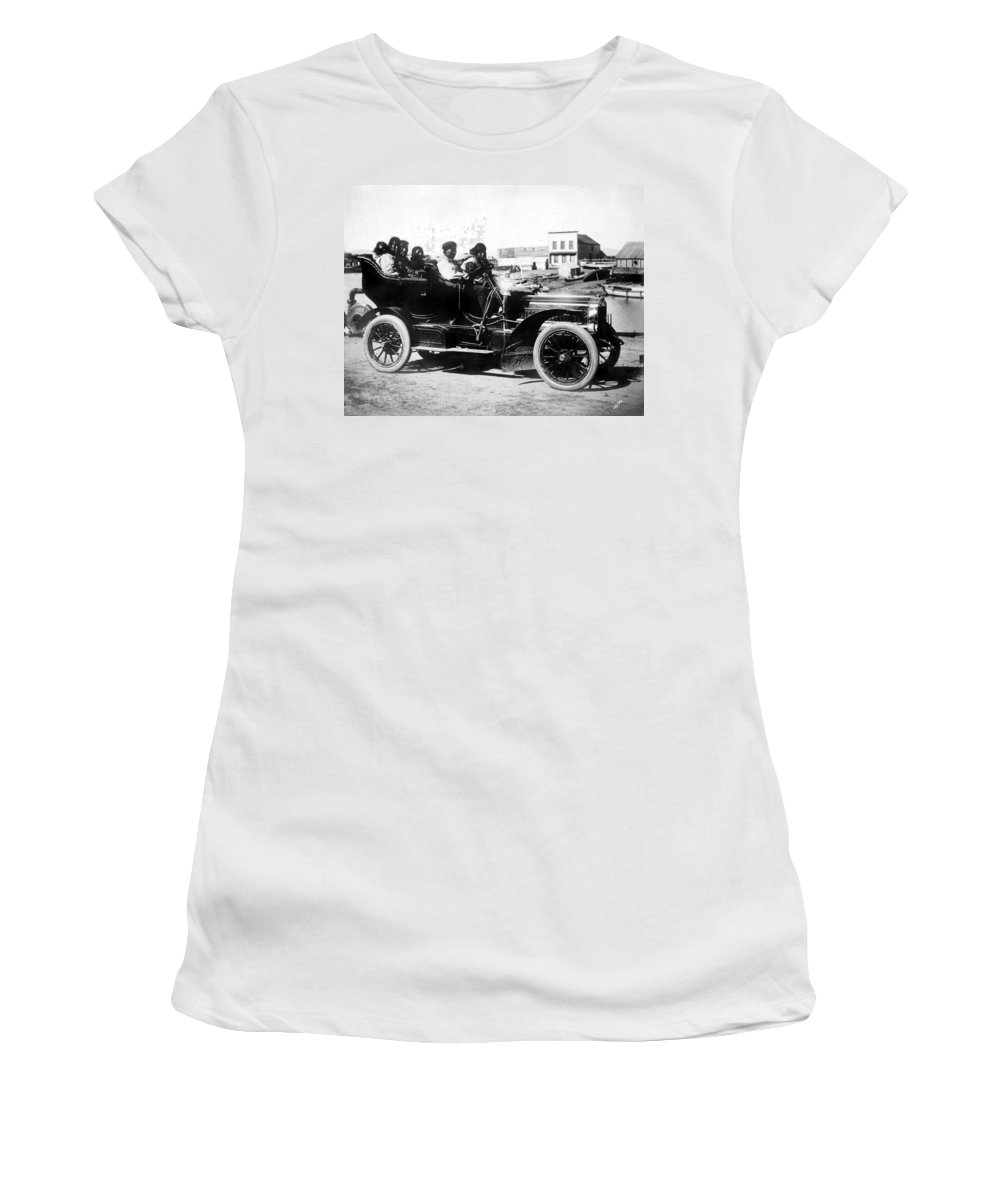 1906 Women's T-Shirt (Athletic Fit) featuring the photograph Inuits In Car, C1906 by Granger