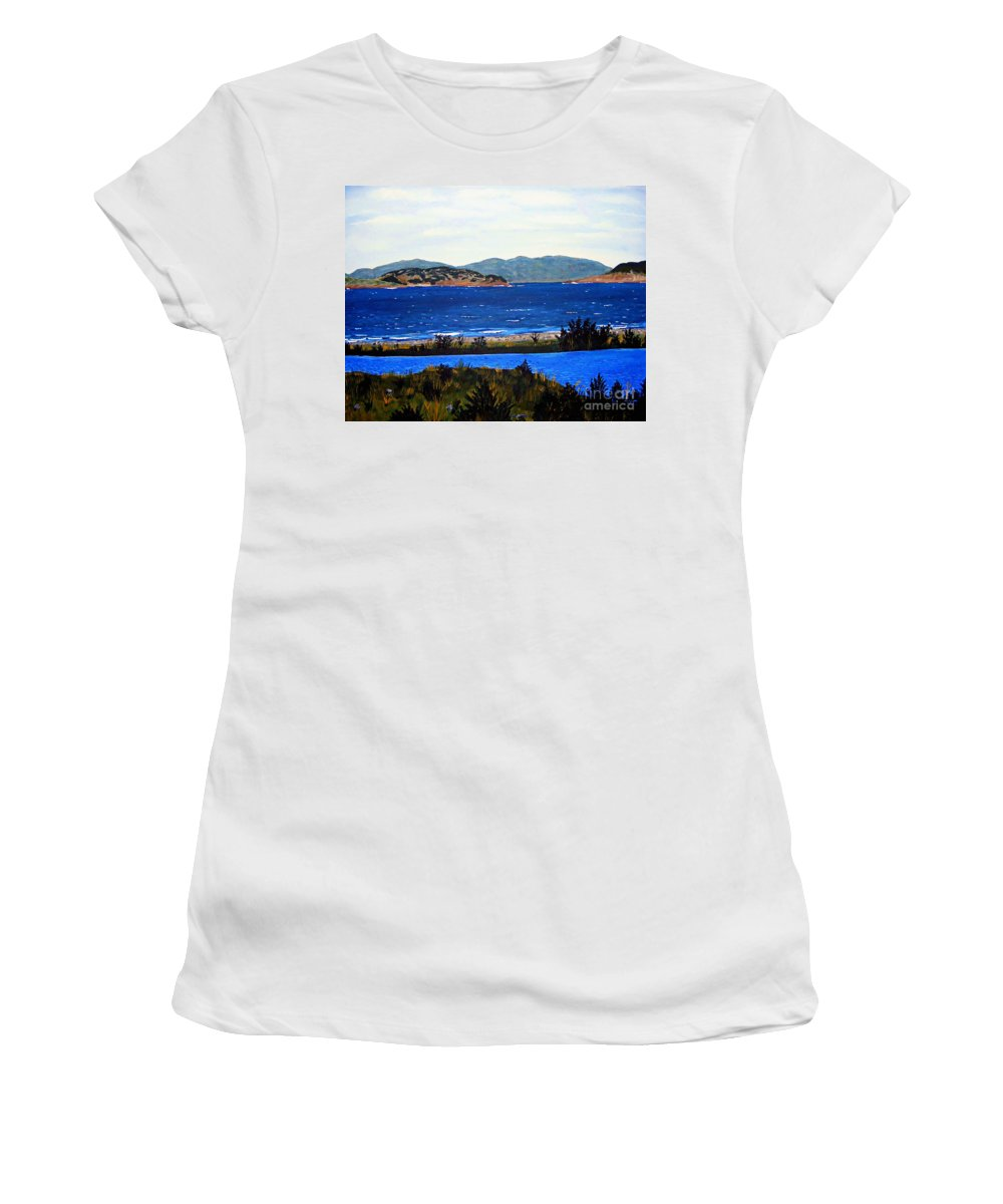 Islands Women's T-Shirt featuring the painting Iona formerly Rams Islands by Barbara Griffin