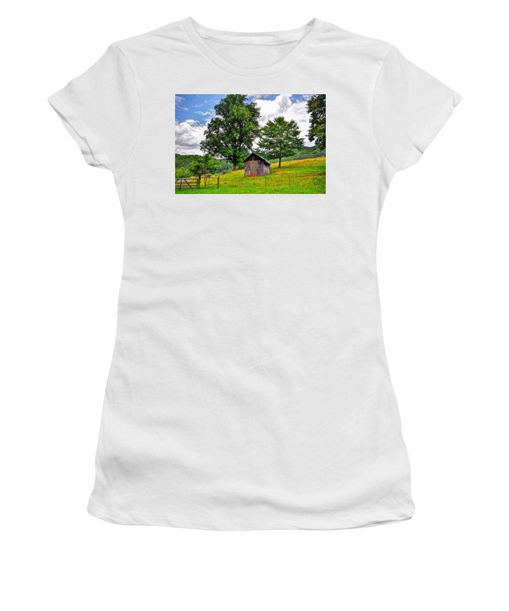 Iotla Valley Women's T-Shirt featuring the photograph Iotla Valley by Savannah Gibbs