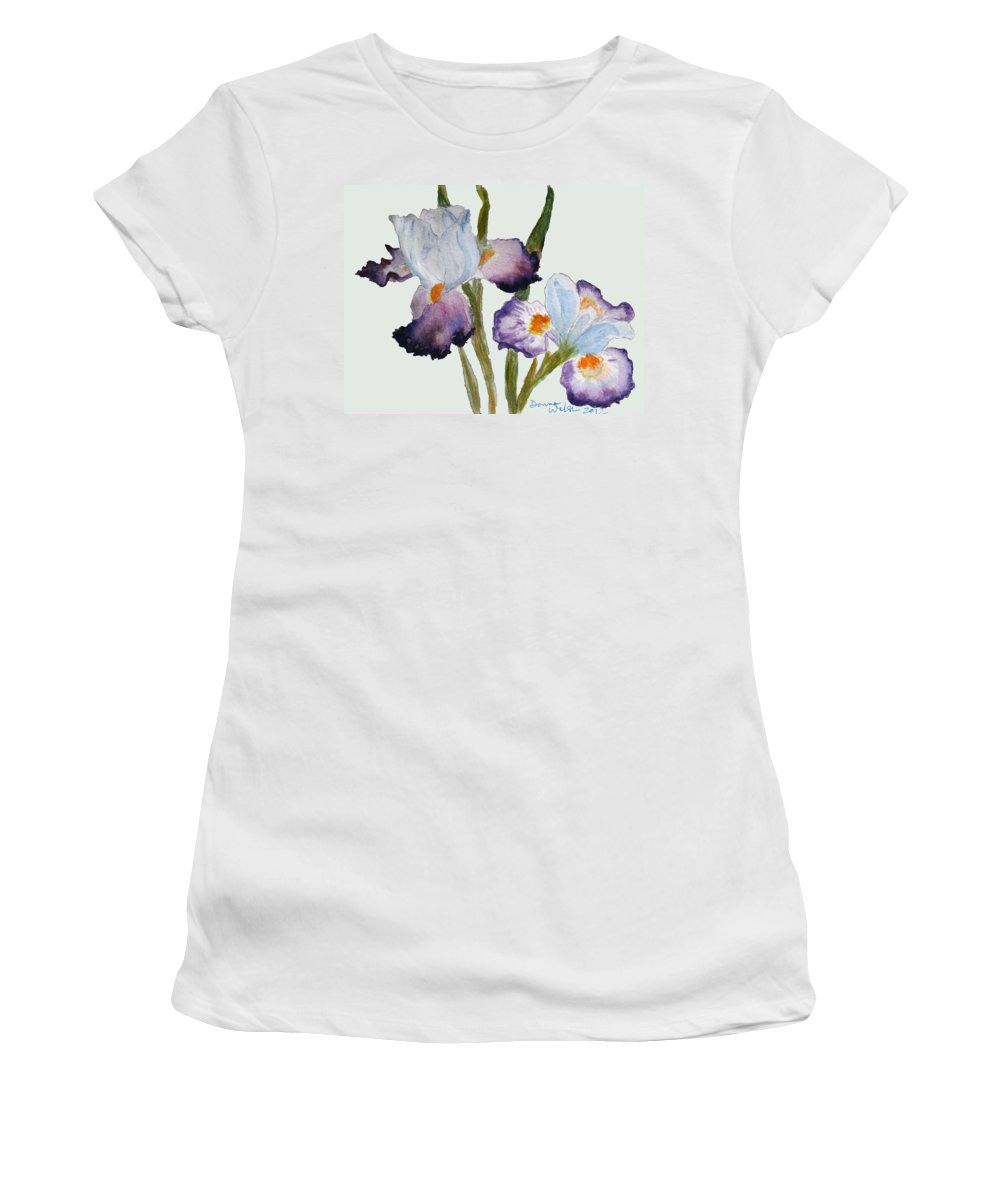 Iris Women's T-Shirt featuring the painting Iris by Donna Walsh