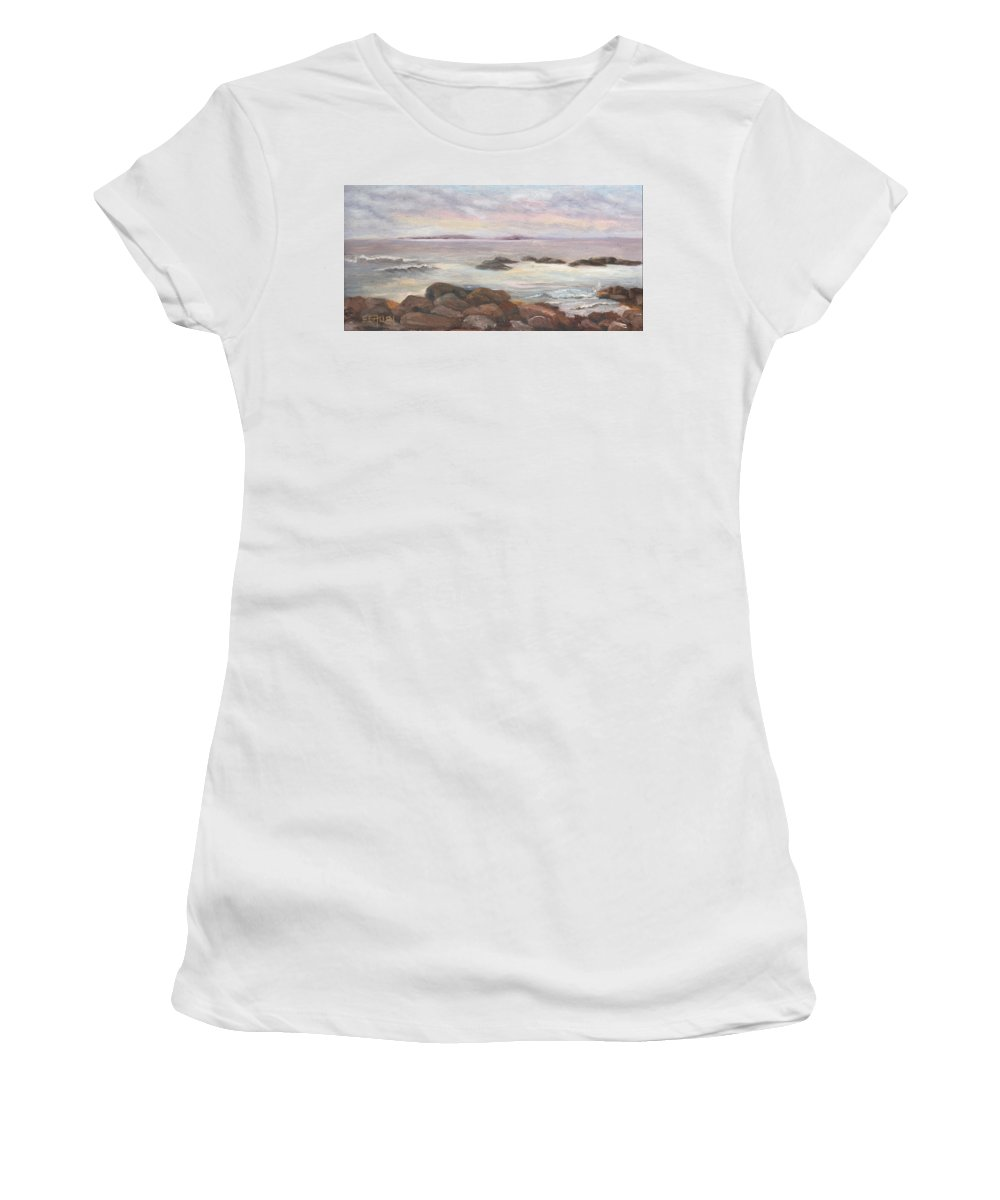 Isles Of Shoals Women's T-Shirt (Athletic Fit) featuring the painting Isles Of Shoals From Odiorne Point by Sharon E Allen