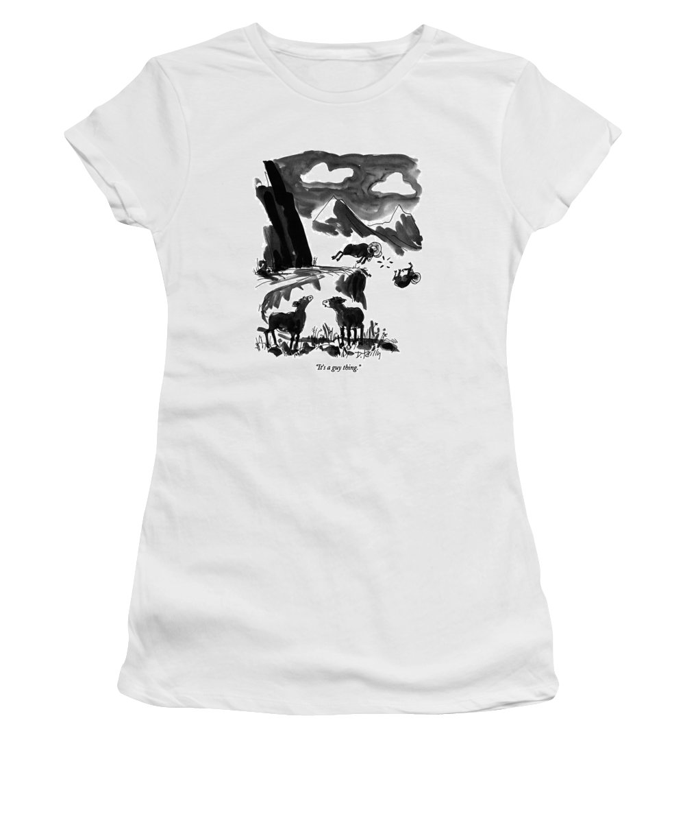 One Sheep To Another. In The Background One Ram Has Headbutted Another Off A Cliff. Animals Women's T-Shirt (Athletic Fit) featuring the drawing It's A Guy Thing by Donald Reilly