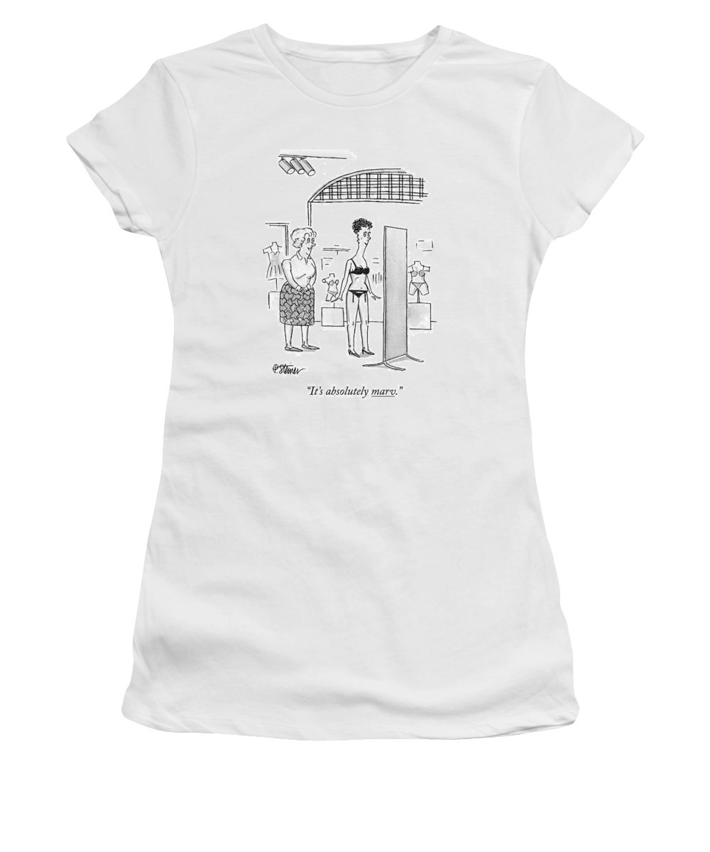 Albert Women's T-Shirt (Athletic Fit) featuring the drawing It's Absolutely Marv by Peter Steiner