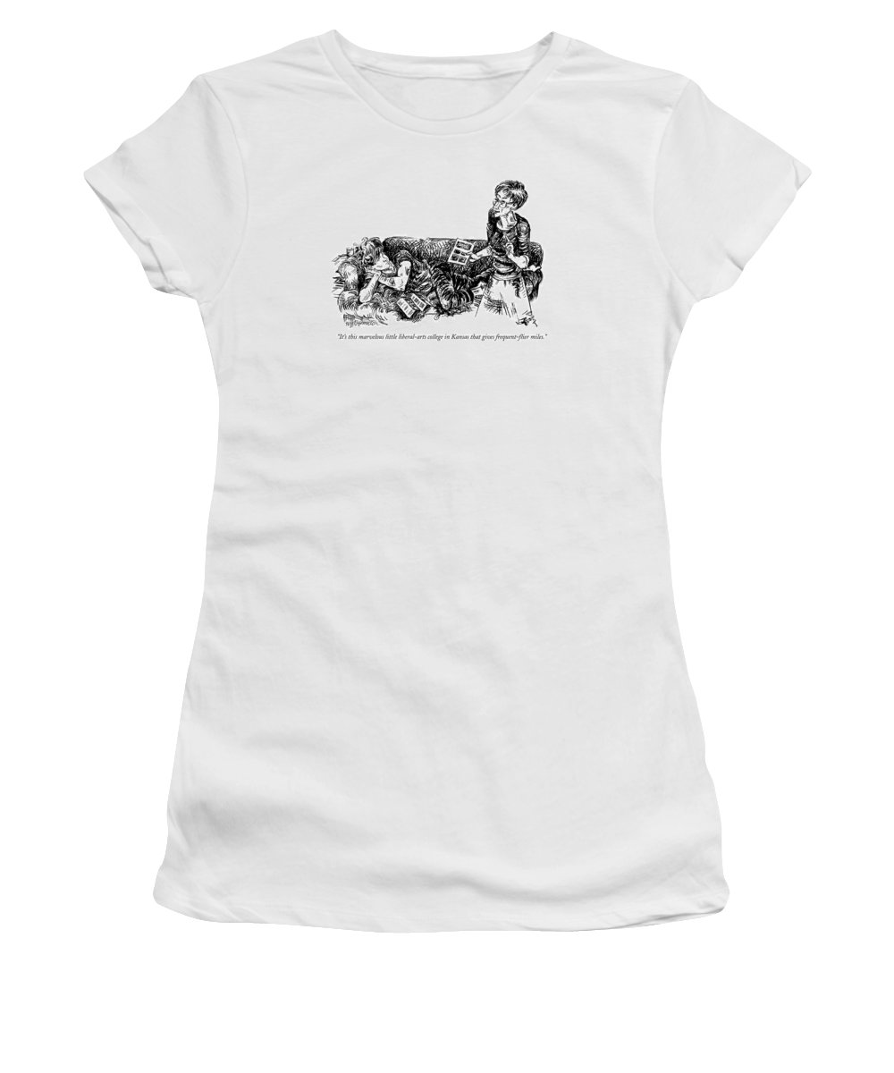 Education Women's T-Shirt (Athletic Fit) featuring the drawing It's This Marvelous Little Liberal-arts College by William Hamilton