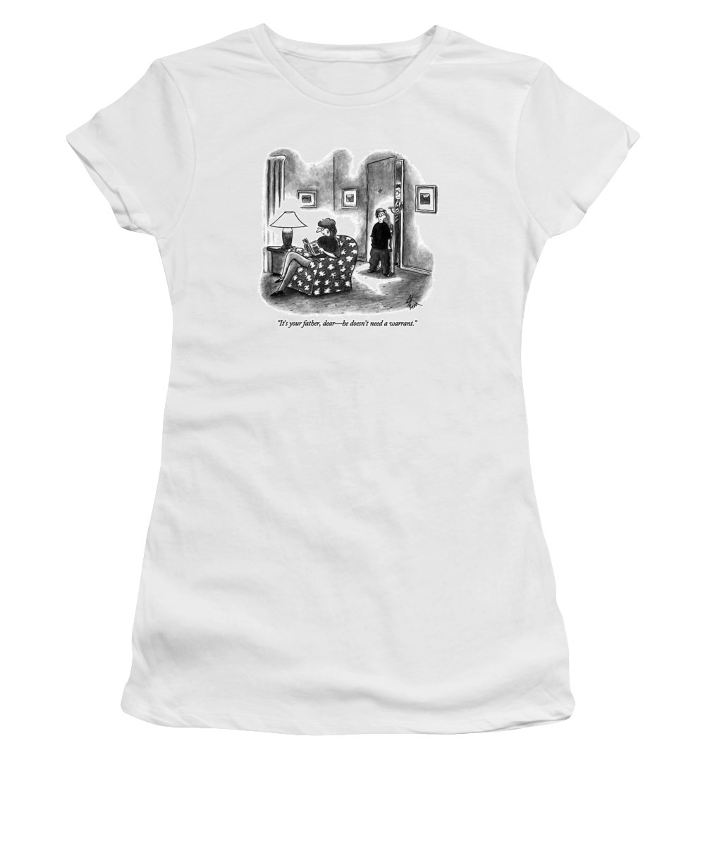 Police Women's T-Shirt (Athletic Fit) featuring the drawing It's Your Father by Frank Cotham
