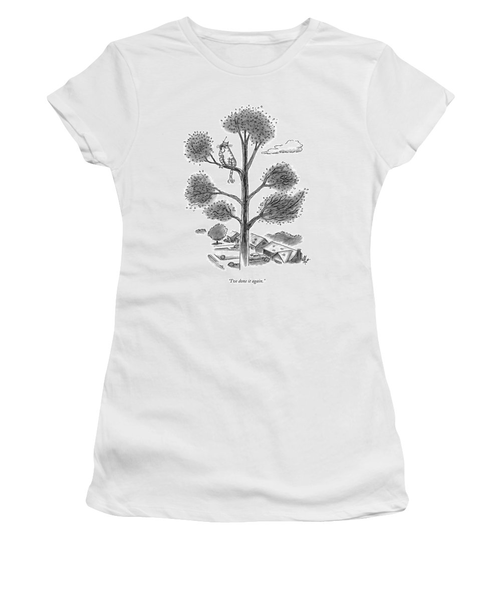 Cats Women's T-Shirt featuring the drawing I've Done It Again by Frank Cotham