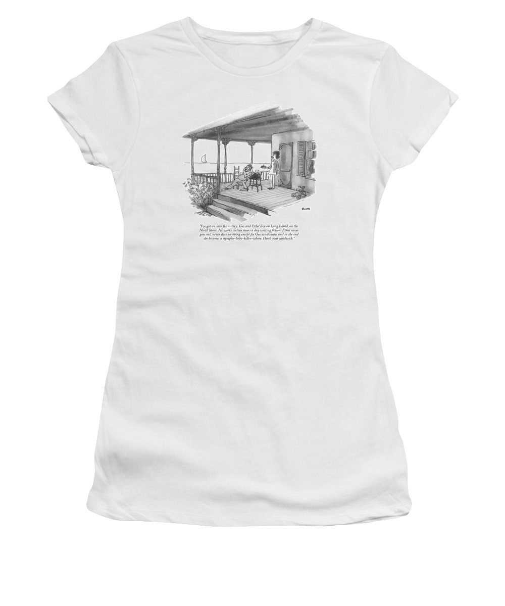 Marriage Women's T-Shirt featuring the drawing I've Got An Idea For A Story: Gus And Ethel Live by George Booth