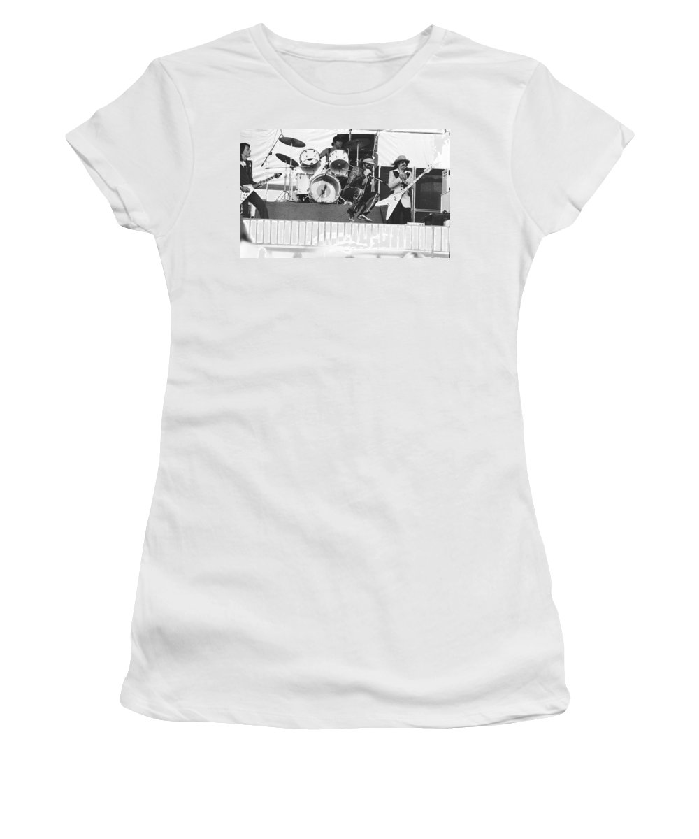 J. Geils Women's T-Shirt (Athletic Fit) featuring the photograph J. Geils Band In Oakland 1976 by Ben Upham