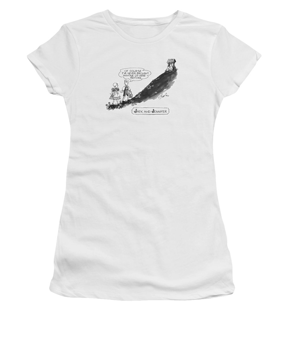 Jack And Jennifer No Caption Title: Jack And Jennifer. Boy Leading Girl Up A Hill Says Women's T-Shirt (Athletic Fit) featuring the drawing Jack And Jennifer by Edward Frascino